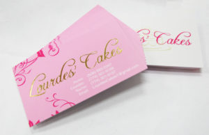 business cards_ goild foil_ silm laminate